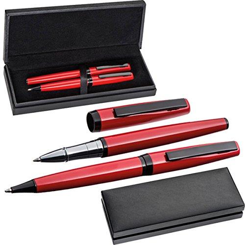 Exklusives Metall-Schreibset in rot/schwarz - mit Drehkugelschreiber und Rollerball - inklusive...