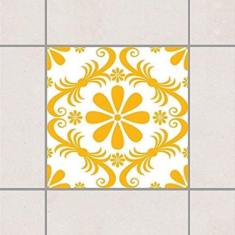 Adesivo per piastrelle - floreale bianco Melone Giallo 10 x 10 cm, Setgröße:10teilig