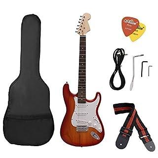 ammoon ST Guitare électrique Basswood Corps Palissandre avec Gig Sac Picks Sangle pour Débutant