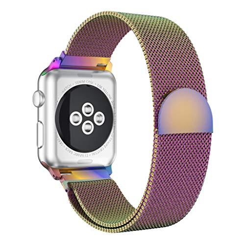 SYY Armband Uhrenband, Edelstahl Magnetic Ersatz Uhrenarmband Herren Damen Universal Armbänder Strap Band Ersatzarmband Uhrenarmband für Apple Watch Serie 4 40MM (Lila)