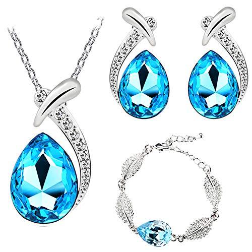 Shuda Parure de bijoux élégante pour femme avec collier et boucles d'oreilles en forme de goutte d'eau 1.8*2.7cm bleu
