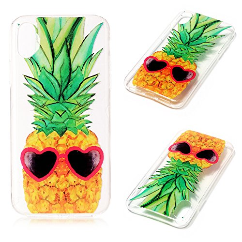 Handy Case für Apple iPhone X 10 | TPU Cover mit Motiv | Silikon Dünn Slim Handyhülle Schutzhülle Mehrfarbig Weich Tasche Schale Schutz Hülle Ananas