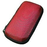 Saingace Beweglicher mini runder harter Aufbewahrungsfall-Beutel für Kopfhörer-Kopfhörer-Sd TF-Karten Optional (Rot)