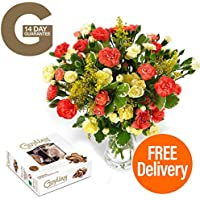 FREE UK DELIVERY – Our Blazing Spray bouquet, made up with Vibrate Yellow and Orange Spray Carnations simple and great for any occasion!