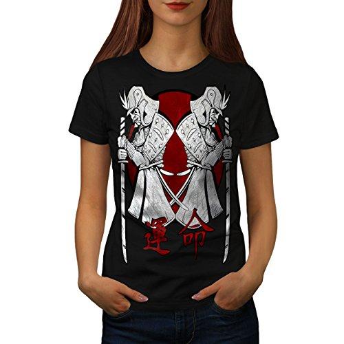 Wellcoda Japan Krieger Kunst Samurai Stand Frau 2XL T-shirt (T-stücke Militär-grafische)