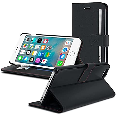 rooCASE Funda para iPhone SE 5y 5S, desmontable piel sintética funda tipo cartera y atril, ligera, piel sintética, negro, iPhone