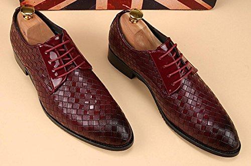 HYLM Styliste Chaussures en cuir Chaussures pour hommes Chaussures daffaires Casual Chaussures en cuir britannique red