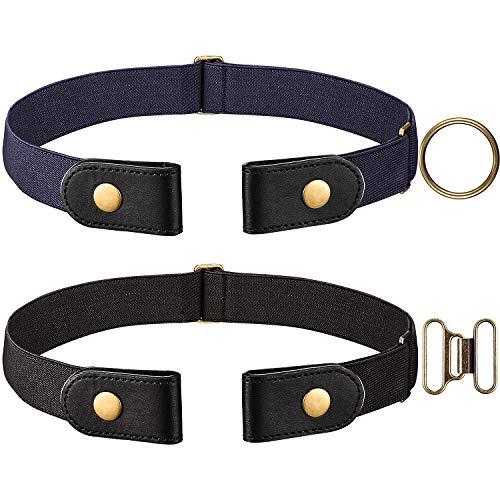 Cinturón Elástico Negro y Azul Marino 2 Piezas (Sin Hebilla) con Cierre de Latón y un par de Hebillas de Latón Marrón (Mujer 46 CM)