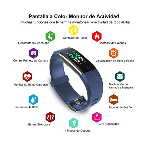 Rayfit Pulsera Actividad Inteligente Reloj Deportivo Impermeable Fitness Tracker Monitor de Ritmo Cardíaco Podómetro… 2