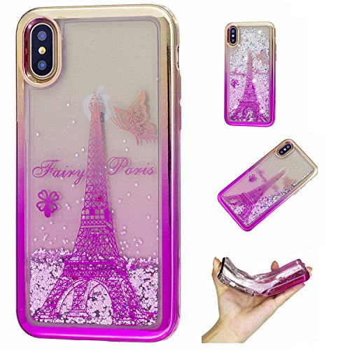 Cover iPhone X Liquido, LuckyW TPU Morbido Silicone Gradient Custodia per iPhone X Brillantini Flowing Flusso Fluente Liquid Liquido Floating Glitter Luccichio Bling Shinny Protettivo Shell Clear Limp Torre Eiffel