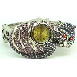 Pink Cat Bling Diamante Encrusted Cuff Style Watch