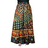 JWF Cotton Printed Women's Long Skirt (Multi-Coloured_Free Size)