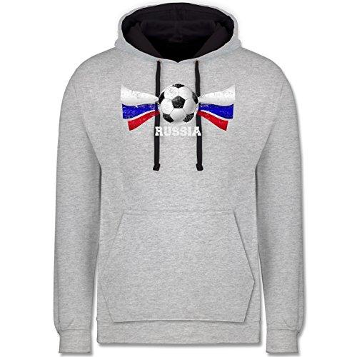 Fußball-WM 2018 - Russland - Russia Fußball Vintage - Kontrast Hoodie Grau meliert/Dunkelblau