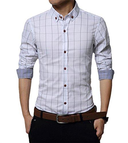 - Knopf-manschette-button-down-hemd (Kuson Herren Hemd Langarm Kariert Freizeit Hemd Baumwolle Button-down Weiß)