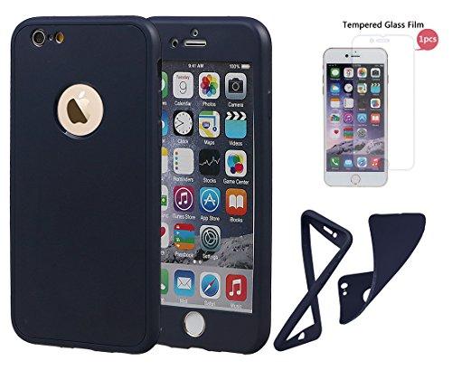 """xhorizon TM Stoßfeste weiche Schutzhülle aus 360 Grad ultradünner und zweischichtiger TPU für volle Deckung für iPhone 6 / iPhone 6S (4.7"""") tiefblau + 9H Tempered Glass Film"""