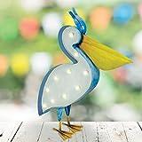 Solar Powered Pelican Licht LED Garten-Vogel Dekofigur aus Metall im Dekoration