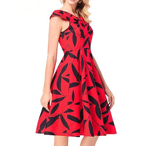 Dissa RO513 femme 50's Audrey Hepburn rétro Robe de soirée Cocktail,Robe de Bal Rouge