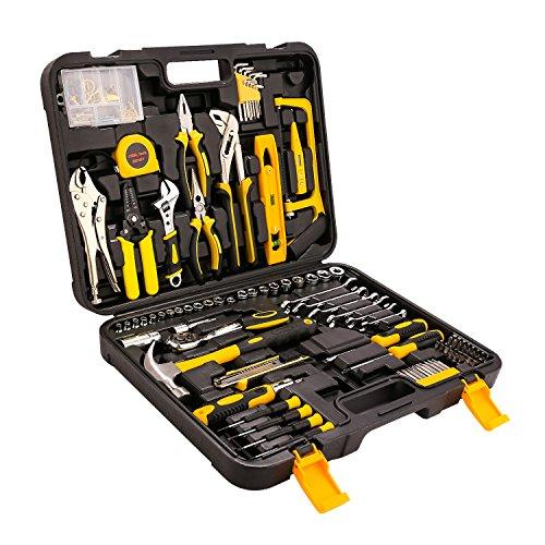 Acecoree 212 Stück Tool Kit Haushaltskoffer,Premium Universal- und Haushalts-Werkzeugkoffer Werkzeugkiste für Haushalt, Möbel, Laptop, Fahrrad,Auto Wartung (Schwarz 0)