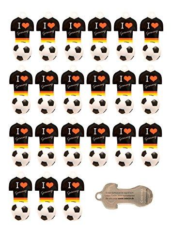 Preisvergleich Produktbild Fußball Schlüsselanhänger D mit Einkaufswagen-Chip,22 Stück aus Edelstahl mit Schlüsselschutz