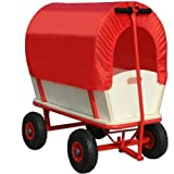 Deuba Wagon Cart Kids Festival Garden Trolley Toys Games Red Pull Along Truck with Roof Heavy Duty Trailer