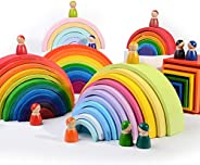 12 Puzzles Wooden Rainbow Tunnel Stacker Nesting Sculpture Building Kids Toy - Macaron