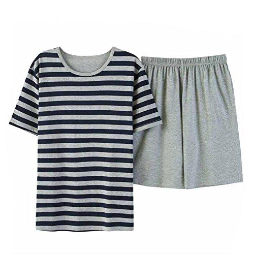 Estate uomo pajamas set a strisce indumenti da notte indumenti da notte in cotone t-shirt top & pantaloncini pajama classico pigiama set, xxl