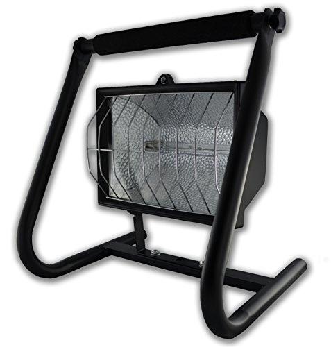 Metall-halogen-scheinwerfer (Rolux Halogen-Flutlichtstrahler 1000W, mit Handgestell Metall schwarz IP44 mobiler Baustrahler Werkstattleuchte)