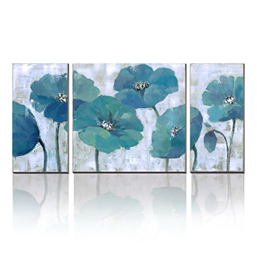 WESIATOR 3 Panels Modern Prints on Canvas Flower Artwork Watercolor Duck Egg Blue Pictures