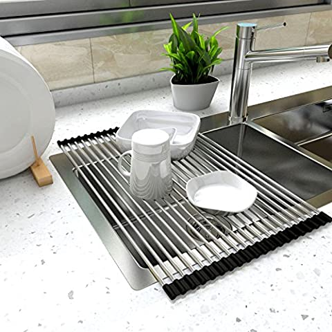 Lifewit 52 x 34cm Dish Drainer Over Sink Roll-Up Dish Drying Rack 304 Stainless Steel Multipurpose Countertop Draining