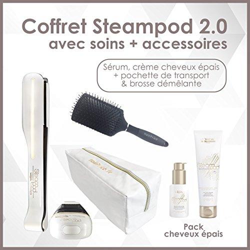 L'oreal - Pack Epais Steampod 2.0 trousse glossy + brosse démêlante - fer à lisser vapeur nouvelle génération + Sérum + Lait creme de lissage cheveux épais + trousse glossy de rangement + brosse hairprice démêlante