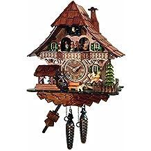 Orologio a cucù, casa della Foresta Nera con la ruota di mulino, ballerini e cucù