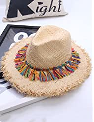 Sombrero de Playa Color de la borla Chica sombrero de paja Playa de verano Big Hat Sombrero de paja playa Sombrero de sol UPF 50 para Mujer