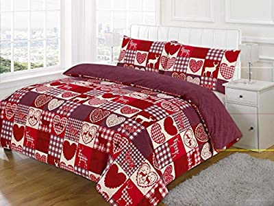 Double Bed, New Christmas Patchwork Duvet / Quilt Cover Bedding Set produced by EDS - quick delivery from UK.