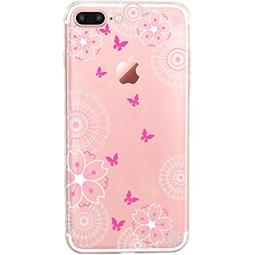 GIRLSCASES® | iPhone 8 Plus / 7 Plus Hülle | Im Meerjungfrau Motiv Muster | in bunt | Fashion Case transparente Schutzhülle aus Silikon Schmetterlinge 1