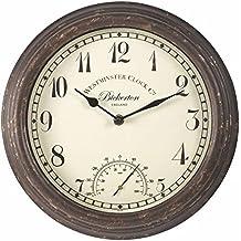 Bickerton Reloj de pared y termómetro diseño clásico para exteriores / interiores con gran cara de