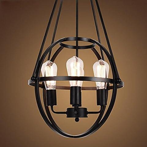 BJVB Retro Industrial redondo con el anillo de hierro forjado 4head Edison bombilla jaula lámpara techo