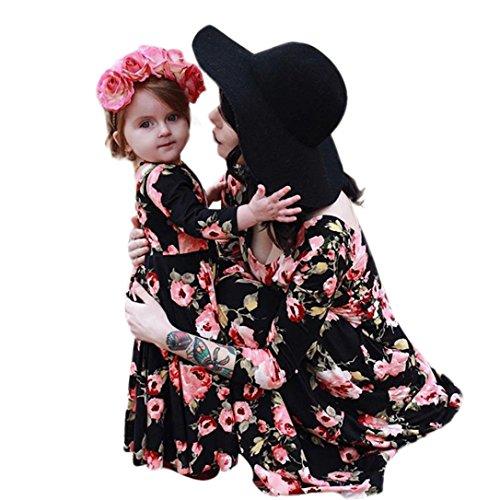 LUCKDE Sommerkleid Mutter Tochter, Partnerlook Shirtkleid Blumenmuster Matching Outfits Druckkleider...