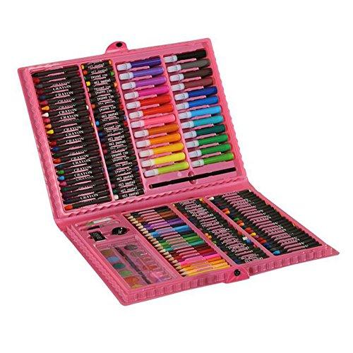 Preisvergleich Produktbild Deluxe Carft Art Paint Set - 168pcs Farbige Stifte Bleistifte Buntstifte Paints Marker im Box Case Great Gift für Kinder Pink