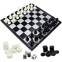 """Fixget 3 in 1 Chess Set-scacchi in legno, dama, Western doppio Chess Set con portatile pieghevole interno di archiviazione di viaggio scacchi gioco board, 12,5 """"X 12,5"""""""