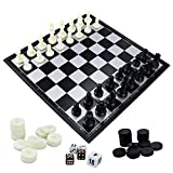 "Fixget3in1SchachspielSchachbrett SchachSchach-Set-HolzSchach,Damespiel,WesternDoppel-Schach-SetmittragbarenFaltungInnenraumLagerungReiseSchachspielBrett,12,5""x12,5"""