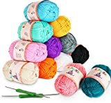 12 x 50g Balls of Assorted Double Knitting Yarn + 2 Crochets ilauke Coloured Acrylic Yarn Set (1200 mts)
