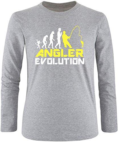EZYshirt® Angler Evolution Herren Longsleeve Grau/Weiss/Gelb