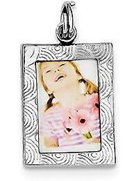 Broche de plata de ley marco de fotos pulido para pulsera - JewelryWeb