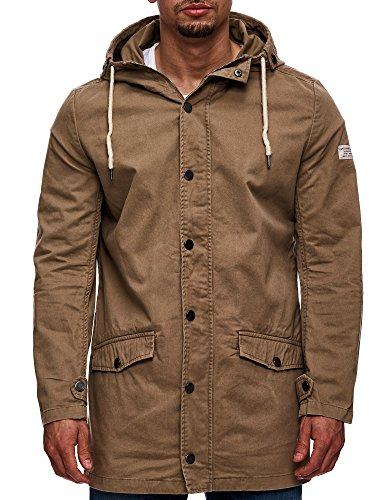 Eight2Nine Herren Parka mit Kapuze Übergangsjacke Outdoorjacke Jacke Kapuzenjacke Mantel Beige S M L XL XXL - 3