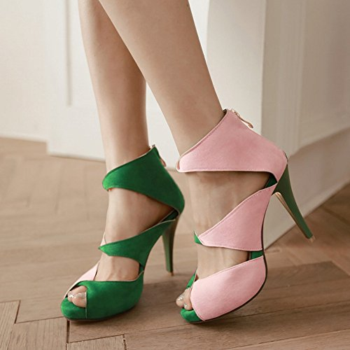 COOLCEPT Damen Mode Slip On Sandalen Peep Toe Stiletto Schuhe Mit Zipper Grun
