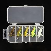 Lixada 5 x 3g 4cm Artificial Pesca Señuelos Luminosos Saltamontes Insectos Forma Duro Cebos Caja De Set