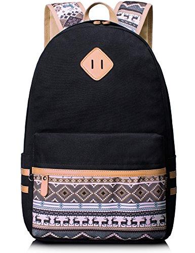 Leaper Sac à Dos Scolaire Cartable Fille Garçon Ado Sac porté Dos Voyage Loisirs School Travel Backpack Daypack Toile Noir