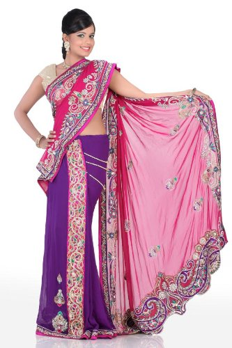 Chhabra555 Purple Georgette One Minute Saree