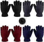 Cooraby 4 pares de guantes de forro polar para niños y niñas