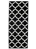 Carpeto Läufer Teppich Modern Schwarz 70 x 200 cm Marokkanisches Muster Kurzflor Furuvik Kollektion